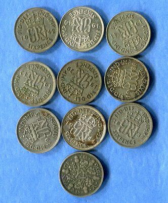 1936-45 Great Britain Silver Sixpence - 10 Different - Circulated #2