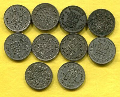 1935-45 Great Britain Silver Sixpence - 10 Different - Circulated #3