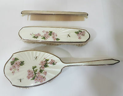 Mappin & Webb Solid Silver & Enamel 3 Piece Dressing Table / Vanity Set