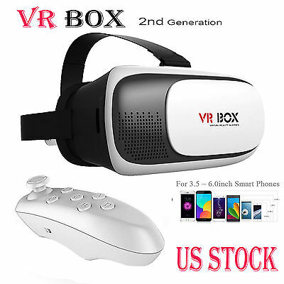 3D Glasses VR Box Headset Google Cardboard Virtual Reality +Bluetooth Control US
