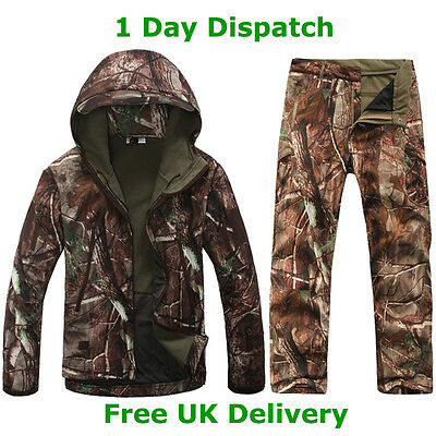 Windproof Water Resistant Camo Fishing Hunting Outdoor Suit Set Jacket Trousers