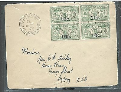New Hebrides French (P2307Bb) 10C/1/2D 1925 Bl Of 4 To Australia