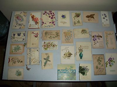 Job Lot 25 Vintage Antique Christmas Cards Flowers, Late 1800's Early 1900's