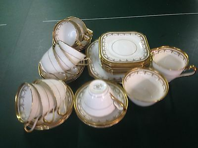 Vintage Edwardian white & gold tea set  for ten persons, cups/saucer/cake plate