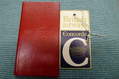 Concorde items, BA News, label, note book, pen etc.
