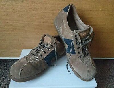 Ladies brown & blue suede lace up Camper Pelotas, bowling style shoes, UK size 5