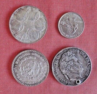 3 large silver coins------ Mexico- Greece France