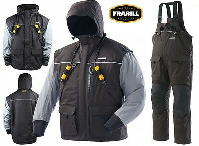 Frabill I2 Series Ice Fishing Suit - Parka Jacket / Bibs Bib Combo Black - NEW!