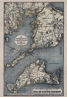 Original 1897 Old Colony Line Map of Martha's Vineyard and the Summer Resorts