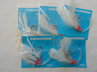 7/0 WHITE COD FEATHERS  3 HOOK RIGS X 5 SETS  Sea Fishing Tackle COD FISHING