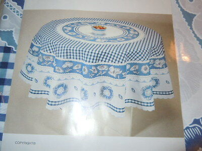 """vintage blue check floral redondo round table cloth new, 70"""" wide, 8 napkins"""