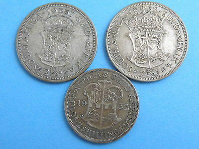 SOUTH AFRICA - SILVER COIN GROUP - 2x HALFCROWN + FLORIN TWO SHILLING