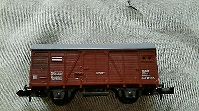 A model long covered wagon in N gauge by unknown make unboxed