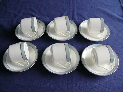 6 x Royal Doulton Etude Coffee Cans/Cups and Saucers