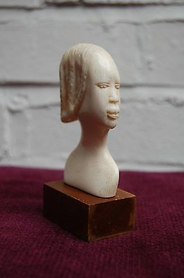 Unusual Antique ivory coloured hand-carved model of African woman's head.
