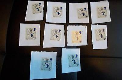 10 x 2nd CLASS UNFRANKED CHRISTMAS  STAMPS ON PAPER face £5.50