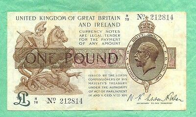 £1 Treasury Note N F Warren Fisher  1919-1928