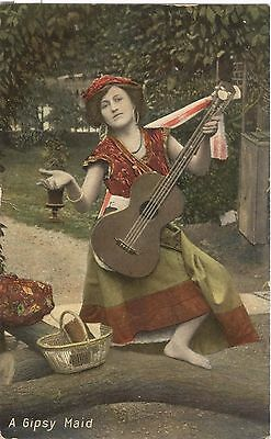 A Gipsy Maid (Gypsy with guitar ) early postcard