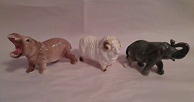 Vintage Lot of 3 Animal  Ceramic Porcelain Figurines, Japan Hippo, Elephant, Ram
