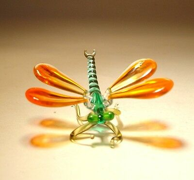 Blown Glass Art Insect Figurine Small Orange and Aqua DRAGONFLY