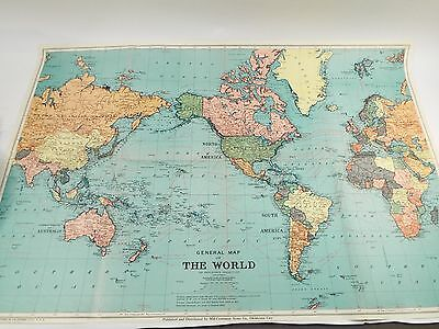 1942 World Map 25 x 37 In Original Folder - Mid-Continent News Oklahoma City