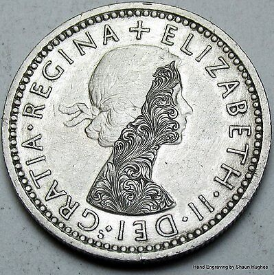 'Aurora' 1962 Scrollwork Sixpence Hand Engraved Hobo Nickel by Shaun Hughes