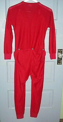 Michigan Clothing Co. Youth size 14 RED Union Suit Full Long Johns Flap Pajamas