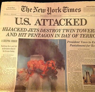New York Times U.S. Attacked 9-11 September 12, 2001 Shipped Flat