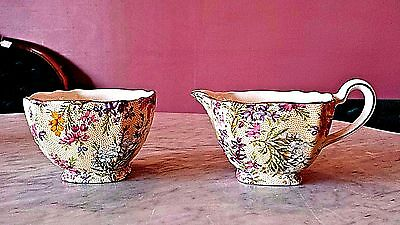 Lord Nelson Chintz  Open Sugar & Creamer in Heather Pattern 1930's