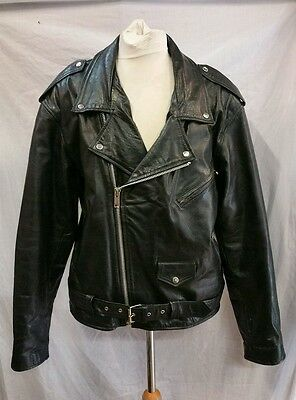 Mens Leather Motorcycle Jacket Size 2X ( presumably an XL )