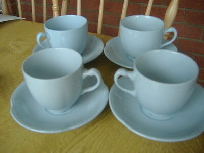Vintage 4 x Cups & Saucers Blue By Johnson Bros