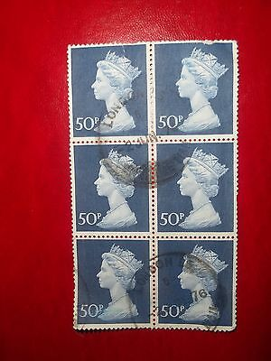 1970 Block Of 6 Used 50P Stamps