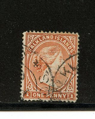 Falkland Islands #12a (FA690) Queen Victoira Venetian Red, Used, FVF
