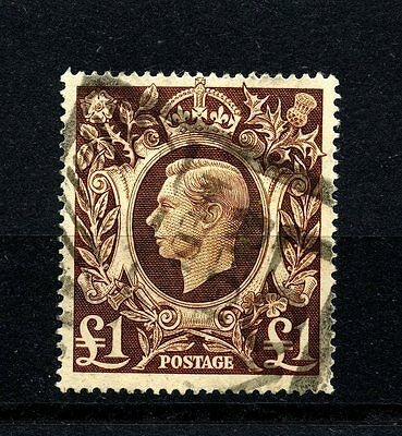 Great British #275 (GR480) King George VI, 1 Pound, Red Brown, Used, FVF