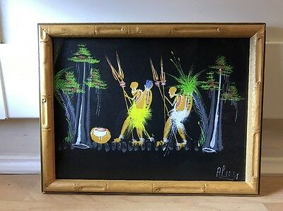 Charming 1960's Watercolour Painting Of Tribal Scene In Wood Frame
