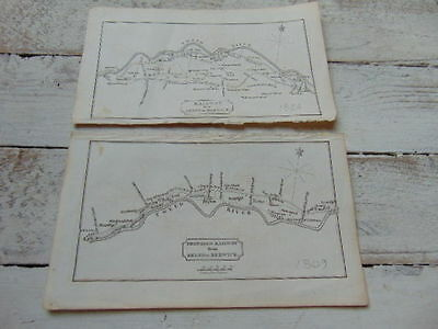 2 x ANTIQUE MAPS 1809 1824 JOHN RENNIE KELSO TO BERWICK PROPOSED RAILWAY