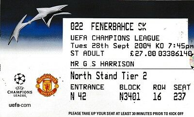 Manchester United V Fenerbahce 28 September 2004 Champions League Ticket