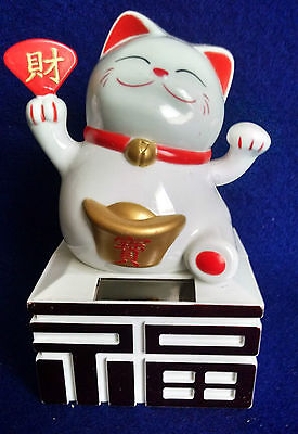 LUCKY CAT SOLAR BOBBLEHEAD toy figure Asain Japanese Oriental