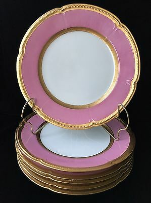 "(6) GDA Limoges PINK with HEAVY GOLD  8.5"" PLATES Gilded by Jesse Dean"