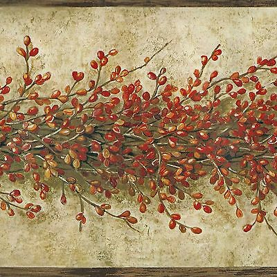 Country Garland of Red Berries on Vine - ONLY $9 - Wallpaper Border Y003