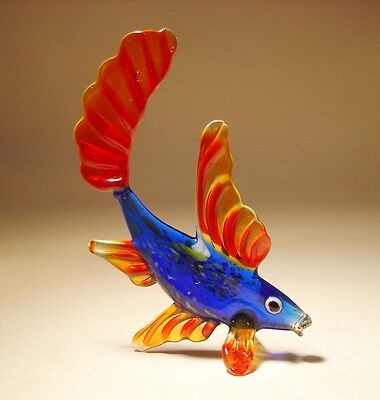 "Blown Glass ""Murano"" Art Figurine Small Blue and Red FISH"