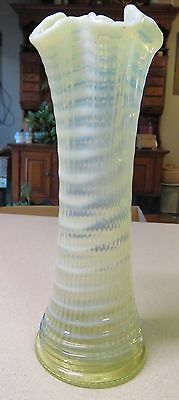 Vintage Ripple & Ruffle Vase Lime Green Yellow & White Rare Color