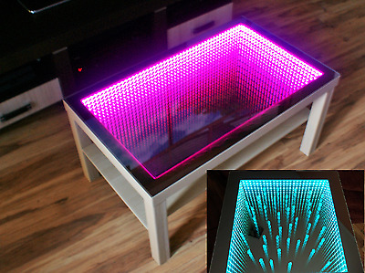 black table led 3d coffee table illuminated infinity mirror effect remote rf. Black Bedroom Furniture Sets. Home Design Ideas