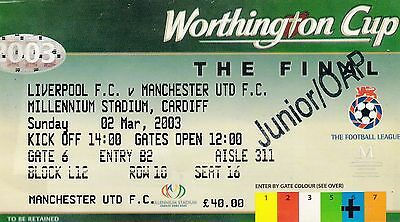 Liverpool V Manchester United 2003 League Cup Final Ticket
