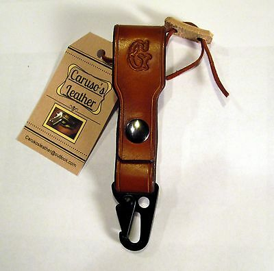"""Leather Keychain/ Key Holder w/ HK clip and the Initial """"G"""""""
