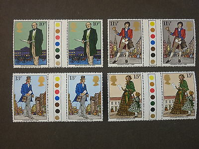 British Stamps NH  Centenary Sir Rowland Hill Traffic Light Gutter Pairs