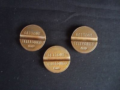 Three vintage Italian Gettone Telefonico Telephone Booth Coin Tokens 1960s/1970s