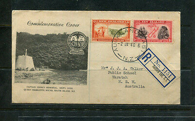 New Zealand Nz 1940 Illustrated Registered Commemorative Stamp Cover Cpt Cook