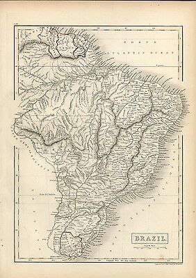 Brazil South America fine 1844 Sidney Hall engraved antique map hand color