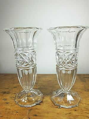 Pair of Vintage Clear Pressed Glass Trumpet flute footed Posey Vase crystal Deco